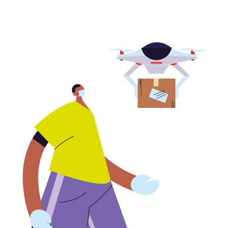 man receiving package with safety precautions, face mask and gloves vector illustration desing