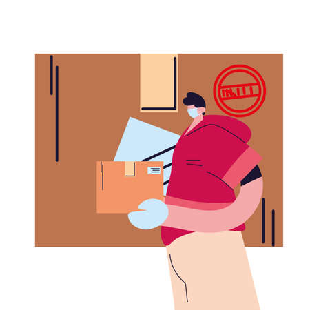 man with mask and shipping packages vector illustration design