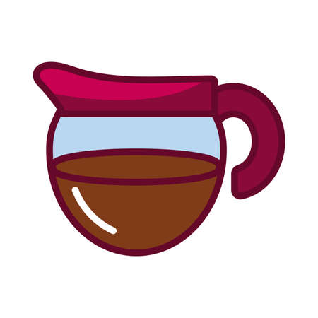coffee pot icon over white background, fill style, vector illustration 向量圖像