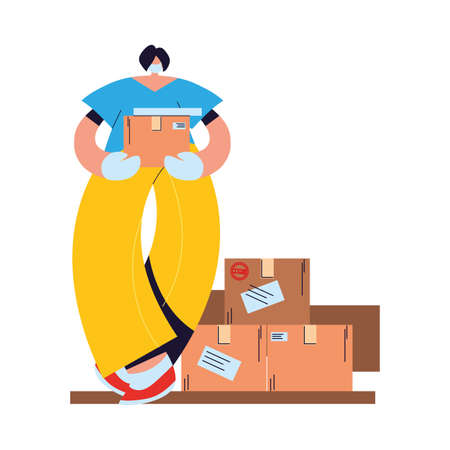 woman with face mask, gloves and shipping packages vector illustration design Vektorové ilustrace