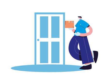 Courier with mask, gloves and packages delivered at the door vector illustration design Ilustração