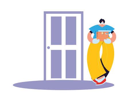 woman with mask, gloves, parcel to deliver at door vector illustration design Ilustração