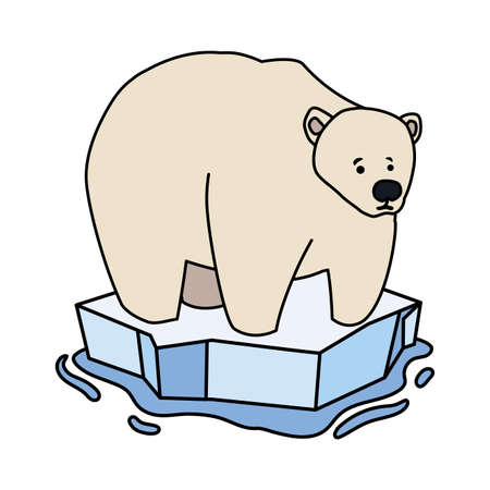 polar bear on an ice floe drifting on white background vector illustration design