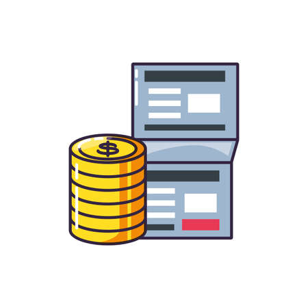 pile of coins dollar with document vector illustration design