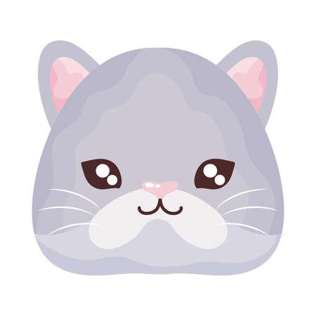 head of cute cat on white background, feline domestic vector illustration design
