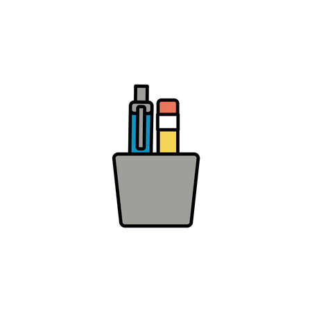 pen and pencil to write office tools, line style icon vector illustration design vector illustration design