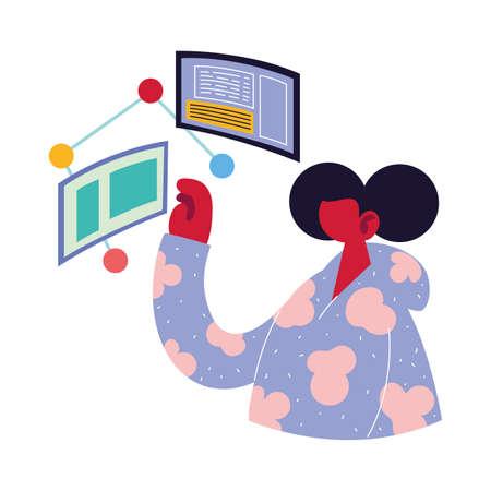 man working on data on computer vector illustration design