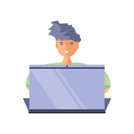 man in front of laptop, online education vector illustration design