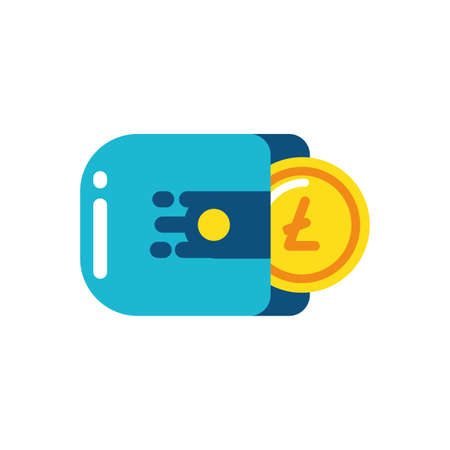 Litecoin inside wallet design of Cryptocurrency money currency exchange financial bank web internet market electronic finance and net theme Vector illustration