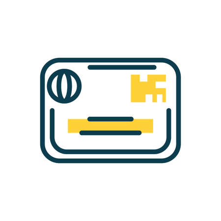credit card icon over white background, half color style, vector illustration