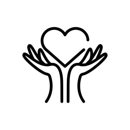 hands up with heart over white background, line style icon, vector illustration