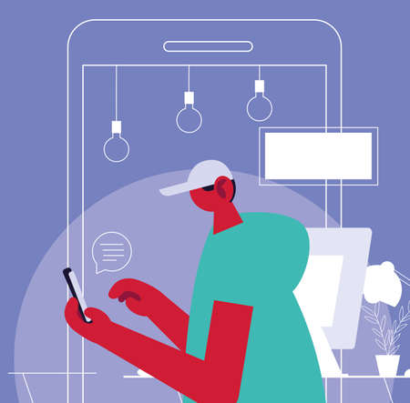 man connected online by cell phone at home vector illustration design