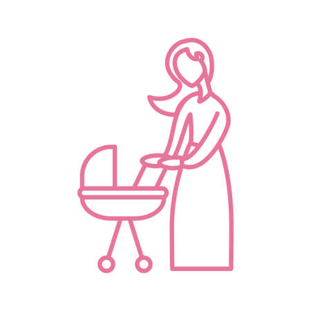 woman with baby in baby stroller, line style icon vector illustration design