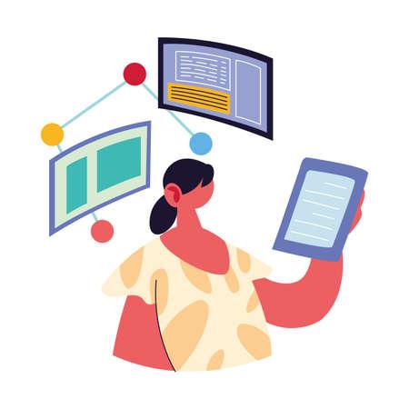 woman working on data on computer vector illustration design Illustration