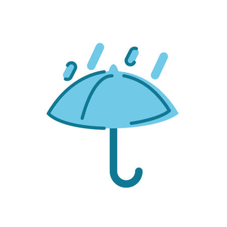 rainy and umbrella icon over white background, flat style, vector illustration