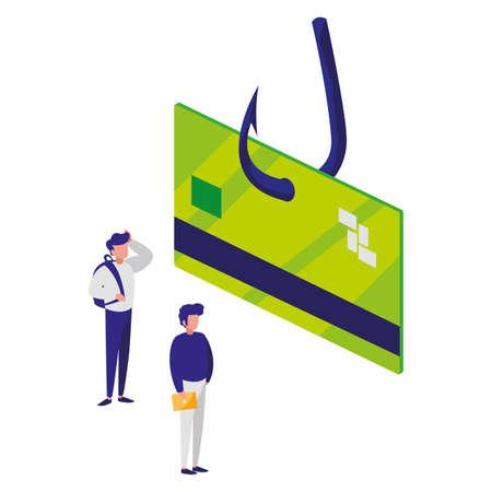 fishing hook with credit card vector illustration design