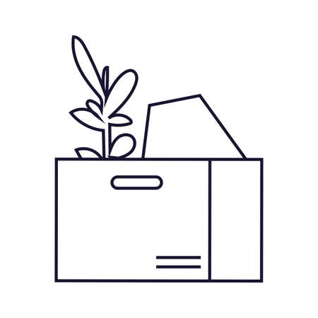 cardboard box with office supplies, line style icon