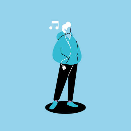 man listening to music with headphones vector illustration design