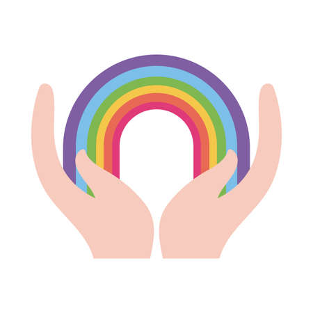 lgtbi rainbow over hands flat style icon design, Pride day sexual orientation and identity theme Vector illustration Çizim