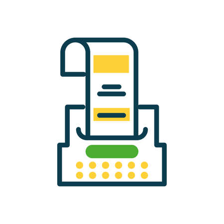 ticket printer icon over white background, half color style, vector illustration