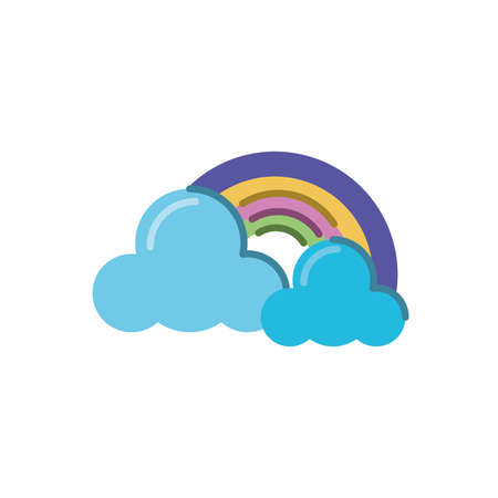 clouds and rainbow icon over white background, flat style icon, vector illustration