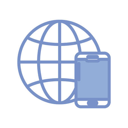global sphere and smartphone icon over white background, blue outline style, vector illustration