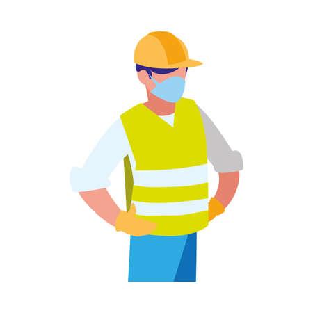 industrial worker man working with face mask vector illustration design Ilustração