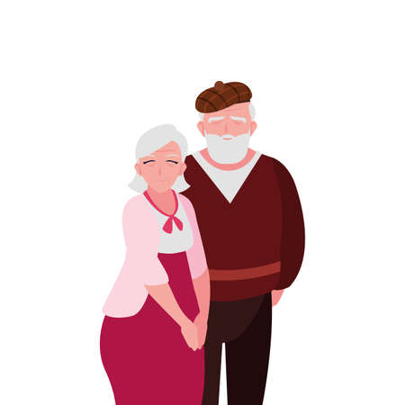 adorable old couple sharing at home vector illustration design Illustration