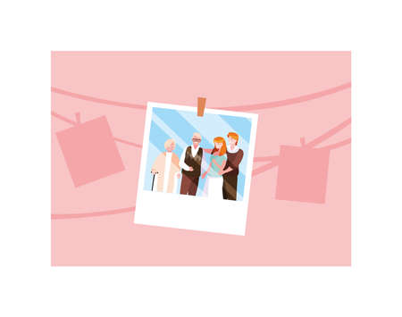 photograph of old couple and their adult children vector illustration design