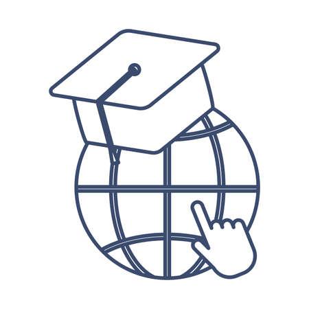 symbol global education with graduation cap, line style icon vector illustration design Illusztráció