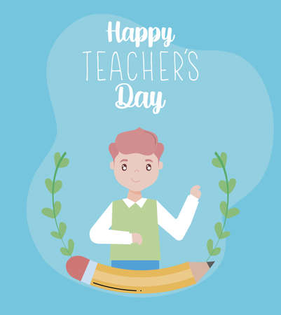 greeting card happy teacher day, male teacher vector illustration design