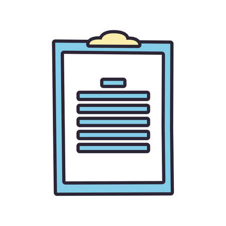 clipboard with paper sheets, line and fill style icon vector illustration design