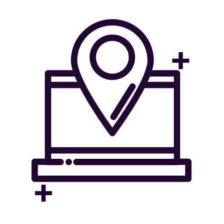 laptop with location tag line style icon vector illustration design