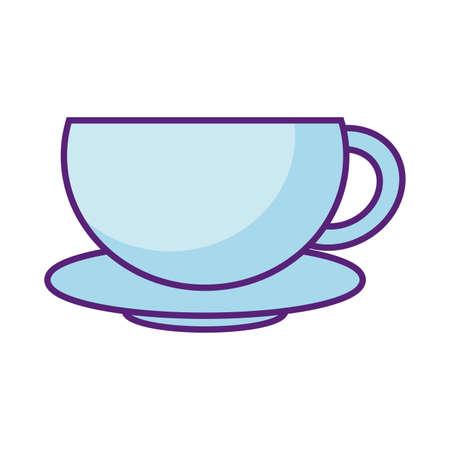 coffee mug icon over white background, flat style, vector illustration