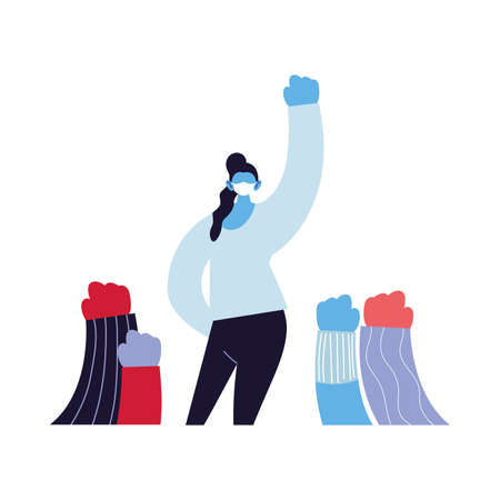 empowered women using face masks vector ilustration