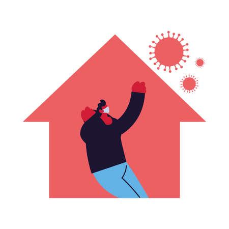 man at home against increased coronavirus vector illustration design