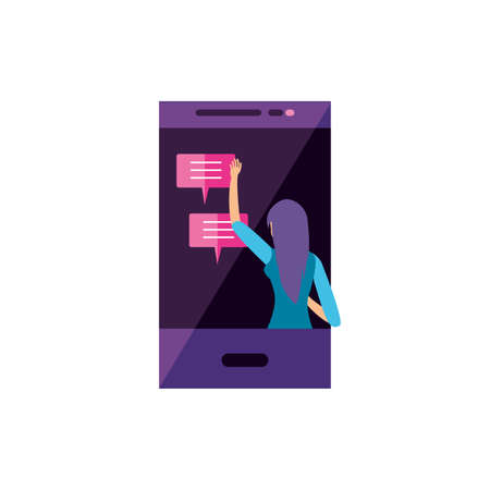 young woman using smartphone character vector illustration design