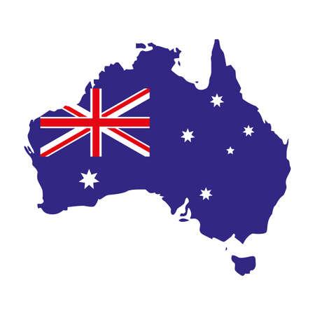 australia map with flag on white background vector illustration design