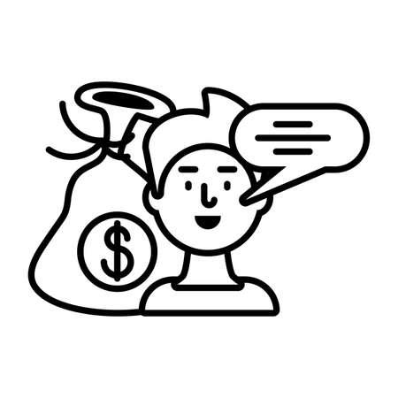 man talking about digital marketing on white background vector illustration design