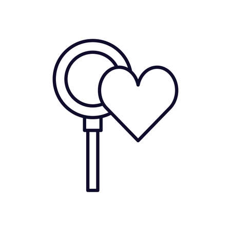 magnifying glass with heart isolated icon vector illustration design