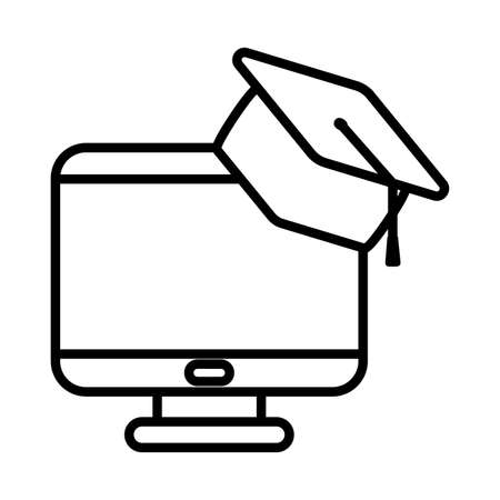 Computer with graduation cap line style icon design, Education online and elearning theme Vector illustration