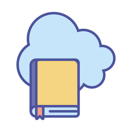 Cloud computing and ebook line and fill style icon design, Education online and elearning theme Vector illustration