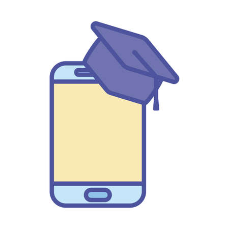 Smartphone with graduation cap line and fill style icon design, Education online and elearning theme Vector illustration 向量圖像