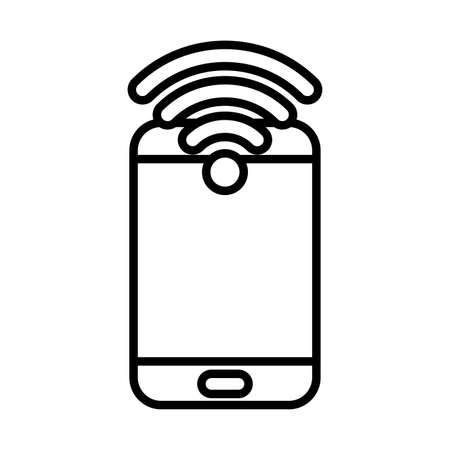 Smartphone and wifi line style icon design, Cellphone mobile digital and phone theme Vector illustration