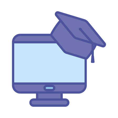 Computer with graduation cap line and fill style icon design, Education online and elearning theme Vector illustration 向量圖像