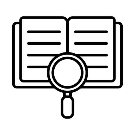 book and lupe line style icon design, Education literature and read theme Vector illustration