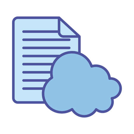 Cloud computing and document paper line and fill style icon design, Communication internet and connectivity theme Vector illustration