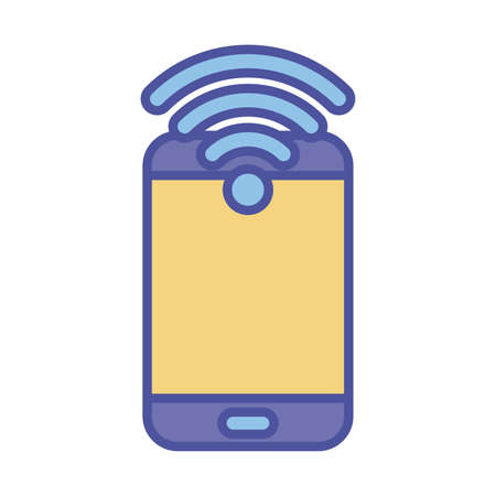Smartphone and wifi line and fill style icon design, Cellphone mobile digital and phone theme Vector illustration