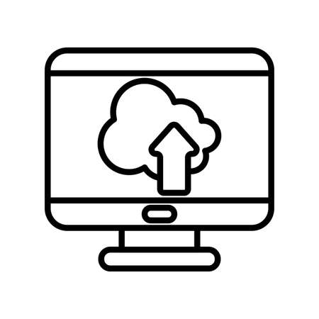 Cloud computing inside computer line style icon design, Communication internet and connectivity theme Vector illustration