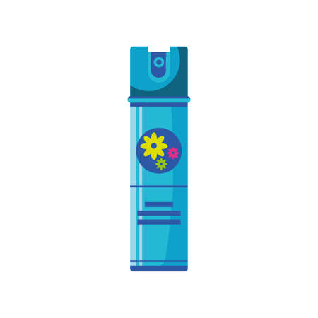 air freshener spray bottle with floral scent on white background vector illustration design 스톡 콘텐츠 - 147922615